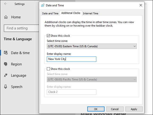Configuring an additional clock in the Date and Time window.