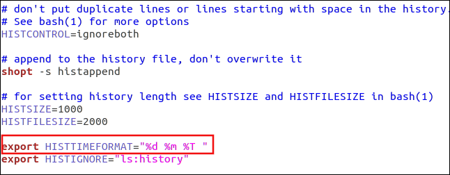 """The export HISTTIMEFORMAT=""""%d n%m %T """" command in gedit."""