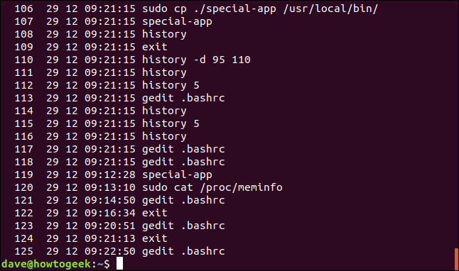 A history list with timestamps in a terminal window.