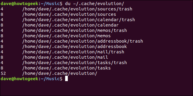 """The """"du ~/.cach/evolution/"""" command in a terminal window."""