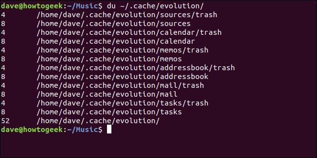 """El comando """"du ~ / .cach / evolution /"""" en una ventana de terminal."""