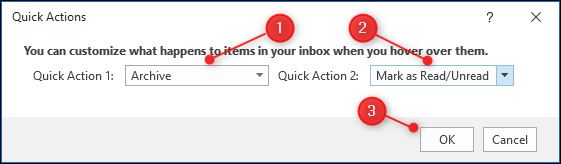 "The ""Quick Actions"" panel with the 2 dropdowns highlighted."