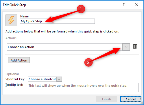 "The Quick Steps editor, with the ""Name"" and ""Actions"" fields highlighted."