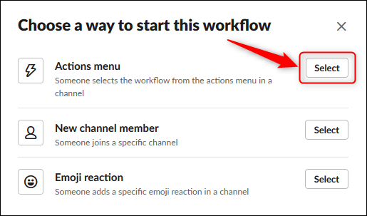 """Click """"Select"""" next to the desired activation action."""