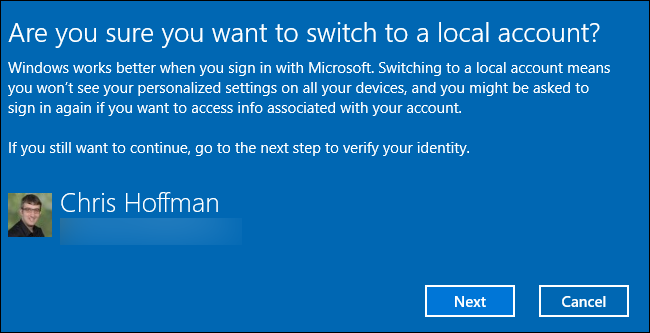 Confirmation of a local user account switch.