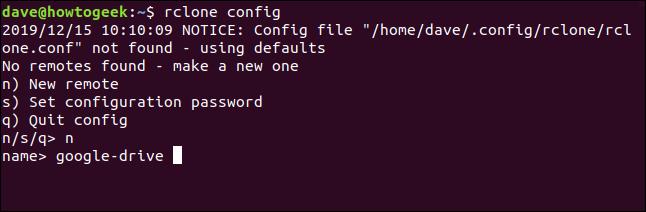 rclone menu to create a new remote, in a terminal window