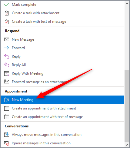 """The """"New Meeting"""" option."""