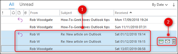 Multiple emails selected with the Quick Action buttons highlighted.