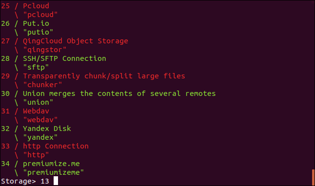 Setting the rclone storage type in a terminal window