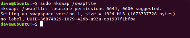 sudo mkswap /swapfile in a terminal window