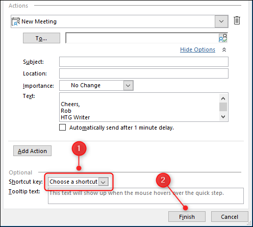 """The Quick Steps editor with the """"Shortcut key"""" field and """"Finish"""" button highlighted."""