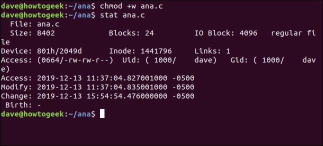 chnod +w ana.c in a terminal window