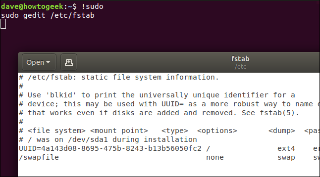 "An ""!sudo"" command in a terminal window."