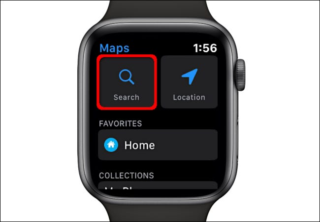 Using the Search function in the Maps app on Apple Watch