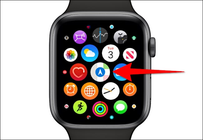 Apple Watch showing the Maps icon