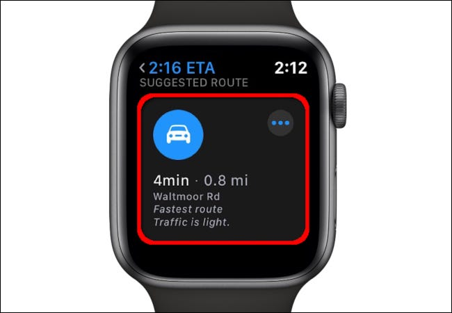 The Maps app on Apple Watch shows a Suggested Route