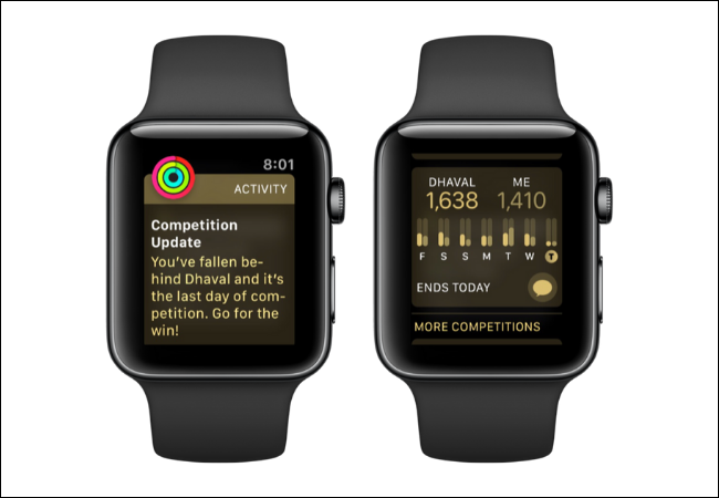 Apple Watch showing competition updates