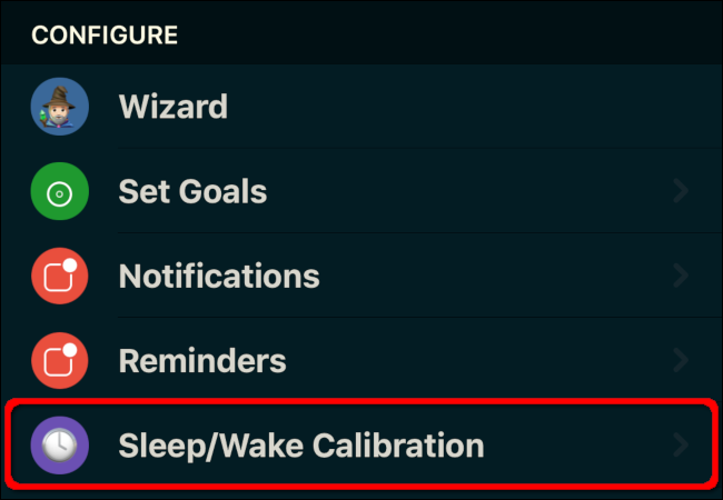 "Tap ""Sleep/Wake Calibration."""