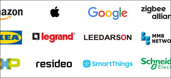 Logos from Amazon, Apple, Google, ZigBee, IKEA, and more.