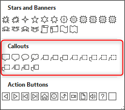 Callouts section in the shapes menu