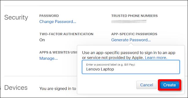 Create App-Specific Password