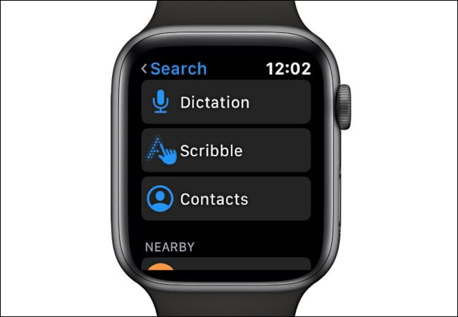 Choosing Dictation, Scribble, Contacts in Search
