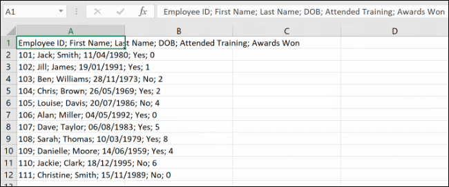 Data, separated by a delimiter, in Microsoft Excel