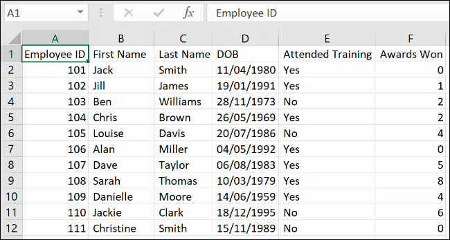 Data in Excel, separated using the Text to Column feature