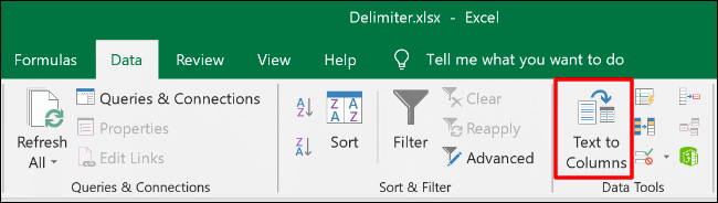 To access Text to Columns in Excel, click Data > Text to Columns
