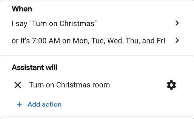 Christmas lights routine in Google Assistant.