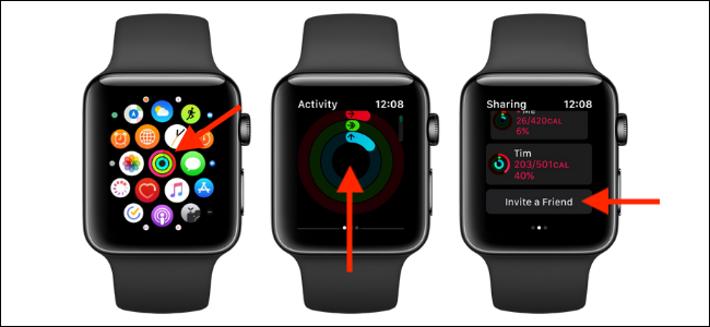Invite a Friend option in Activity on Apple Watch
