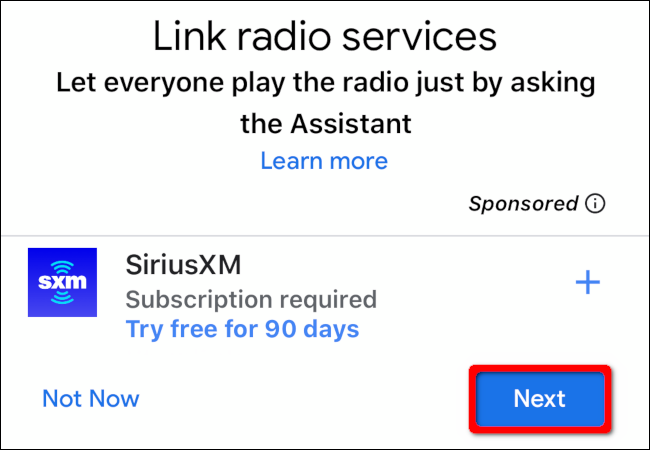 """Tap """"Next"""" to link your media services."""