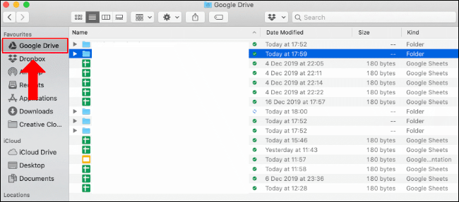 La carpeta de Google Drive en Finder en Mac