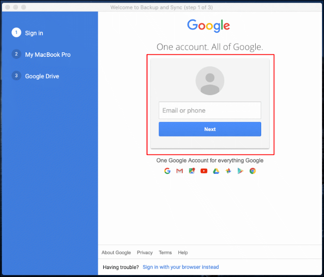 Sign in to your Google Account on the first launch of Google Backup and Sync on Mac