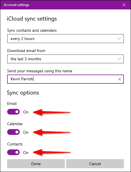 Mail App iCloud Sync Options
