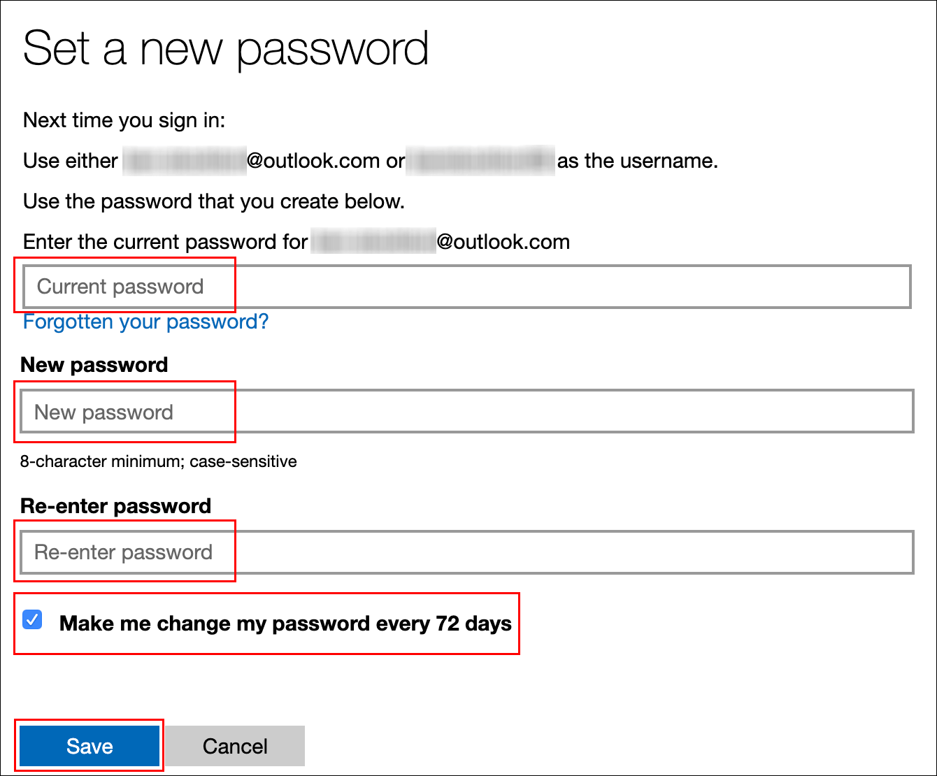 "Type your current password, type a new password, click the checkbox next to ""Make Me Change My Password Every 72 Days,"" and then click ""Save."""