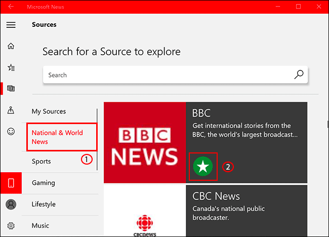 To add or remove a news source in Microsoft News, click he sources tab, then select your news source, clicking the star icon to add/remove it