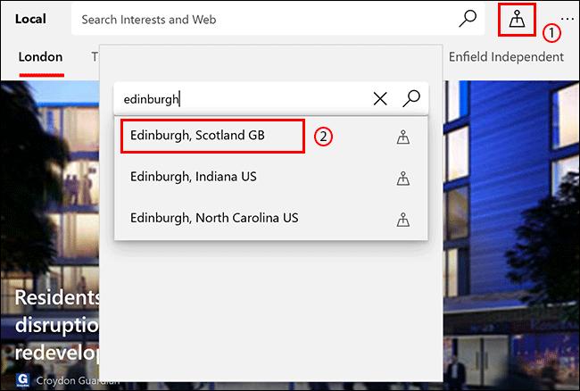 En la pestaña Local de Microsoft News, haga clic en el icono Ubicación, luego busque una ubicación y haga clic en ella