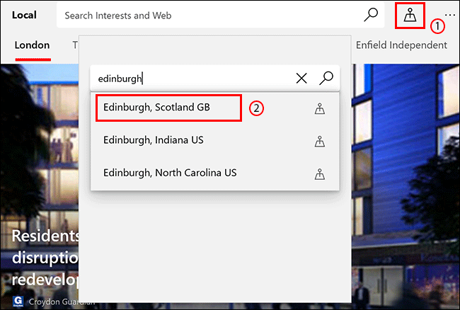 In the Microsoft News Local tab, click the Location icon, then search for a location and click on it