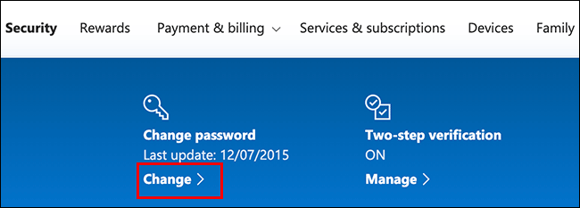 """Click """"Change"""" in the """"Change Password"""" section."""