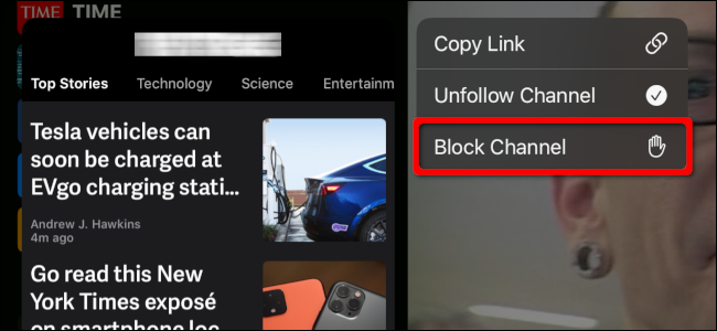 Blocking a Channel in the News app on an iPad