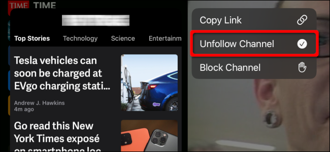 Unfollowing a Channel in the News app on an iPad