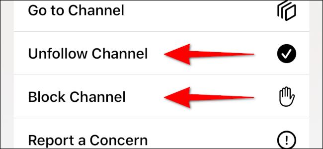 Bloquear o dejar de seguir el canal de un artículo