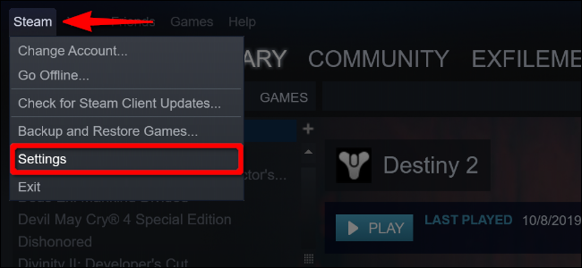 """Click """"Steam,"""" and then select """"Settings."""""""