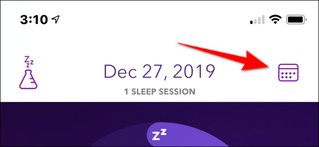 Tap the calendar icon to access recorded sleep sessions.