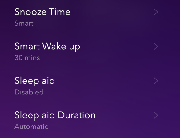 The alarm settings in the Pillow app.