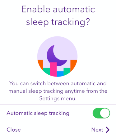 """The """"Automatic Sleep Tracking"""" option in the Pillow app."""