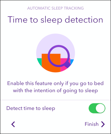 "The ""Detect Time to Sleep"" toggle in the Pillow app."
