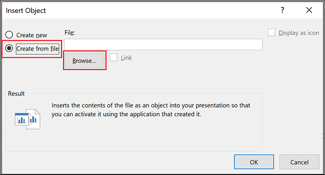 In PowerPoint's insert object menu, click Create from File and then click Browse