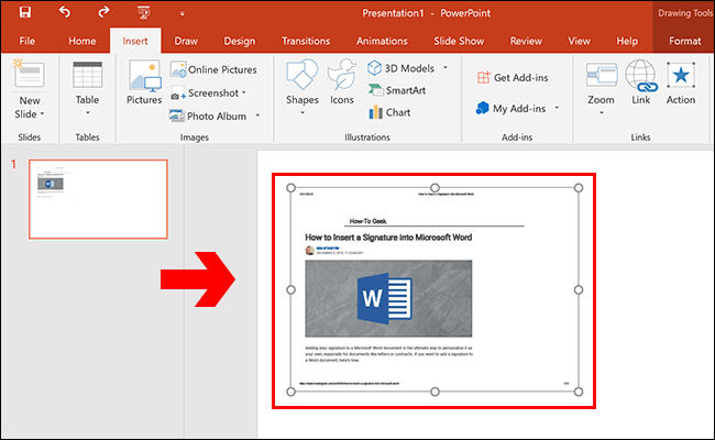 A PDF document inserted as an object in a Microsoft PowerPoint presentation